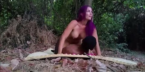 Purple Hair White Woman Blacked In Forest